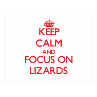 Guarde la calma y el foco en lagartos postal