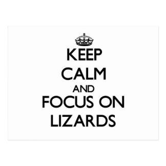 Guarde la calma y el foco en lagartos postales