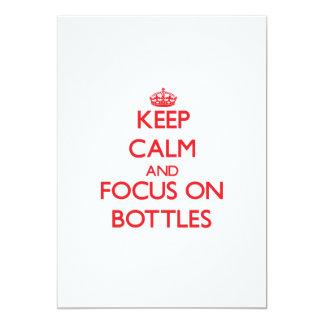 """Guarde la calma y el foco en las botellas invitación 5"""" x 7"""""""