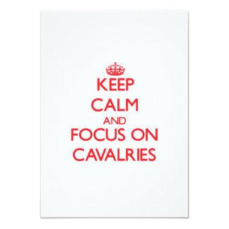 """Guarde la calma y el foco en las caballerías invitación 5"""" x 7"""""""
