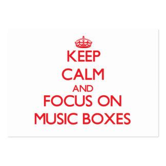 Guarde la calma y el foco en las cajas de música tarjeta de visita