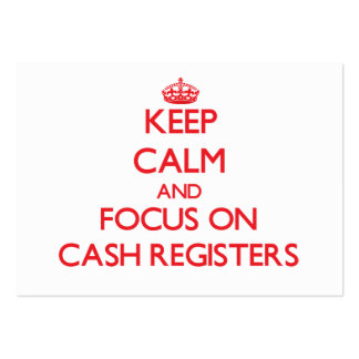 Guarde la calma y el foco en las cajas registrador plantilla de tarjeta de negocio