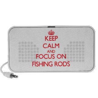 Guarde la calma y el foco en las cañas de pescar altavoz de viajar