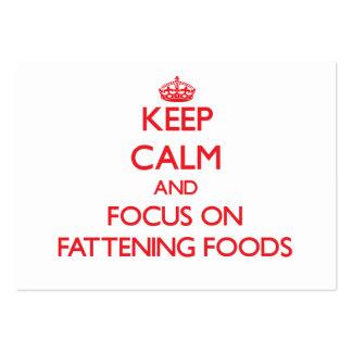 Guarde la calma y el foco en las comidas de la tarjetas de visita grandes