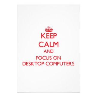 Guarde la calma y el foco en las computadoras de e anuncio personalizado