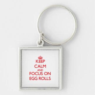 Guarde la calma y el foco en las croquetas chinas llaveros personalizados