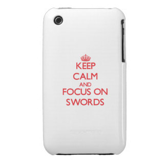 Guarde la calma y el foco en las espadas Case-Mate iPhone 3 cárcasa