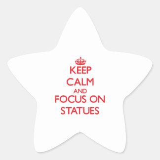Guarde la calma y el foco en las estatuas calcomanías forma de estrellas personalizadas