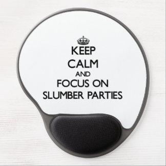 Guarde la calma y el foco en las fiestas de pijama alfombrillas de ratón con gel