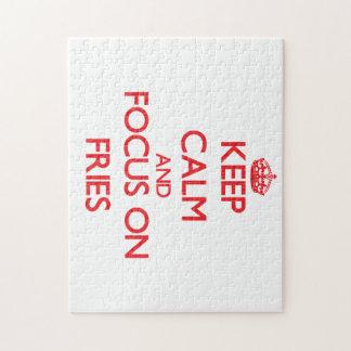 Guarde la calma y el foco en las fritadas puzzles con fotos