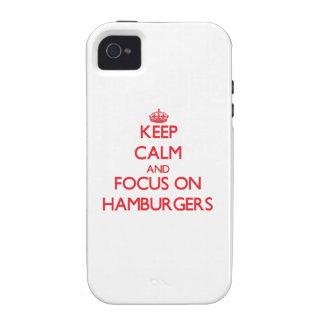 Guarde la calma y el foco en las hamburguesas iPhone 4 funda
