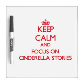 Guarde la calma y el foco en las historias de tableros blancos