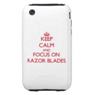 Guarde la calma y el foco en las hojas de afeitar iPhone 3 tough protectores