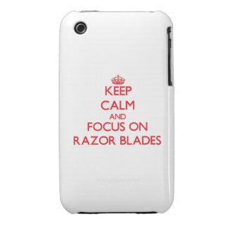 Guarde la calma y el foco en las hojas de afeitar iPhone 3 protectores