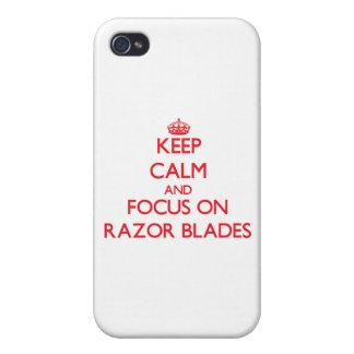 Guarde la calma y el foco en las hojas de afeitar iPhone 4 coberturas