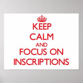 Guarde la calma y el foco en las inscripciones posters