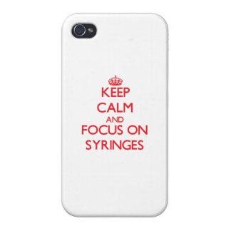 Guarde la calma y el foco en las jeringuillas iPhone 4 protector
