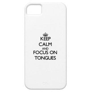 Guarde la calma y el foco en las lenguas iPhone 5 coberturas
