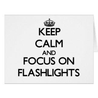 Guarde la calma y el foco en las linternas tarjeta de felicitación grande