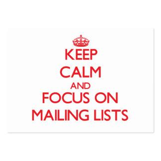 Guarde la calma y el foco en las listas de persona plantillas de tarjeta de negocio