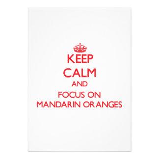 Guarde la calma y el foco en las mandarinas invitación