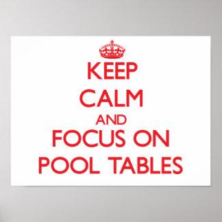 Guarde la calma y el foco en las mesas de billar poster
