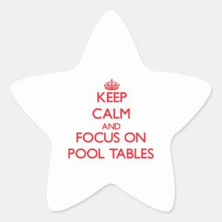 Guarde la calma y el foco en las mesas de billar pegatina en forma de estrella