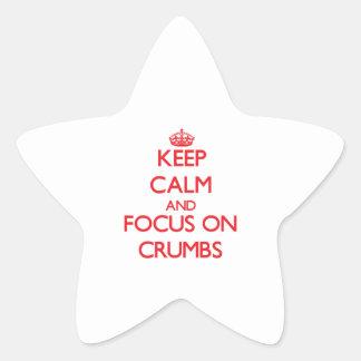Guarde la calma y el foco en las migas colcomanias forma de estrella personalizadas