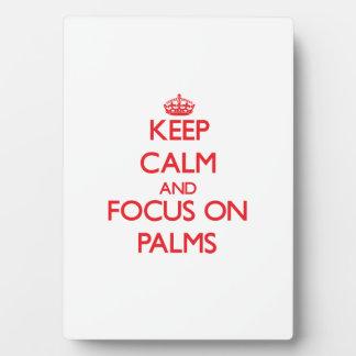 Guarde la calma y el foco en las palmas placas para mostrar