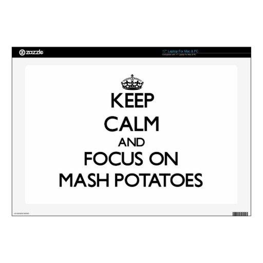 Guarde la calma y el foco en las patatas de puré 43,2cm portátil calcomanía