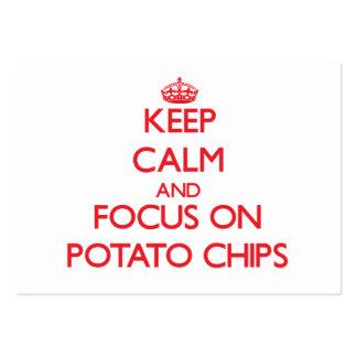 Guarde la calma y el foco en las patatas fritas tarjeta de visita