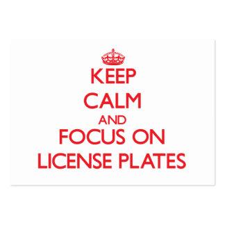Guarde la calma y el foco en las placas tarjetas de visita grandes