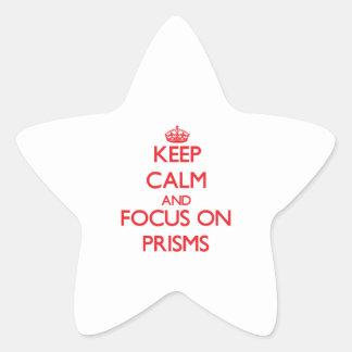 Guarde la calma y el foco en las prismas calcomanías forma de estrella