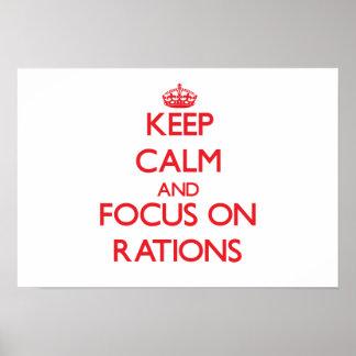 Guarde la calma y el foco en las raciones poster