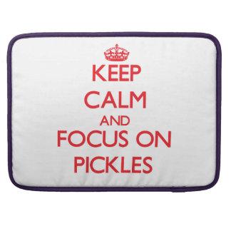 Guarde la calma y el foco en las salmueras fundas para macbooks