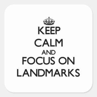 Guarde la calma y el foco en las señales calcomania cuadrada personalizada