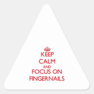 Guarde la calma y el foco en las uñas pegatina triangular