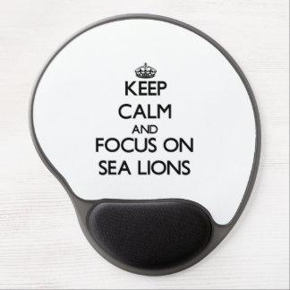 Guarde la calma y el foco en leones marinos alfombrillas con gel