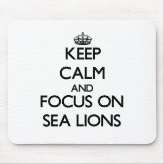 Guarde la calma y el foco en leones marinos alfombrillas de ratón