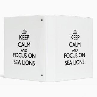 Guarde la calma y el foco en leones marinos