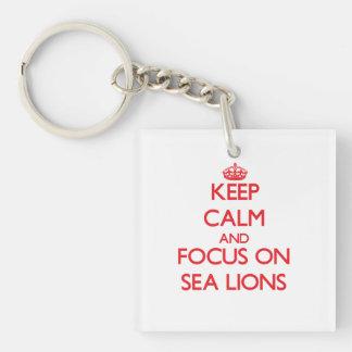 Guarde la calma y el foco en leones marinos llavero cuadrado acrílico a doble cara