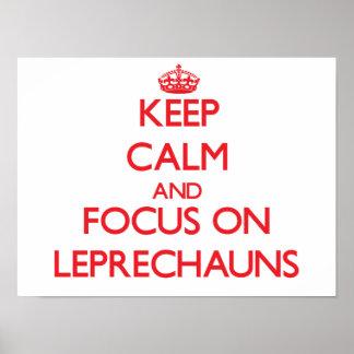 Guarde la calma y el foco en Leprechauns Impresiones