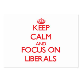 Guarde la calma y el foco en liberales plantillas de tarjetas de visita