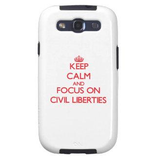 Guarde la calma y el foco en libertades civiles samsung galaxy s3 fundas