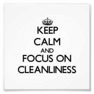 Guarde la calma y el foco en limpieza fotografía