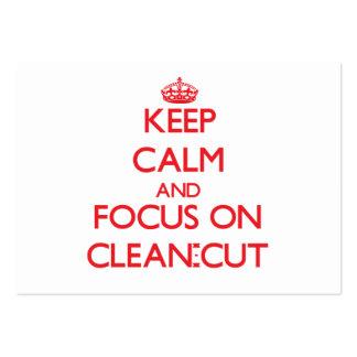 Guarde la calma y el foco en Limpio-Cut Tarjetas De Visita Grandes