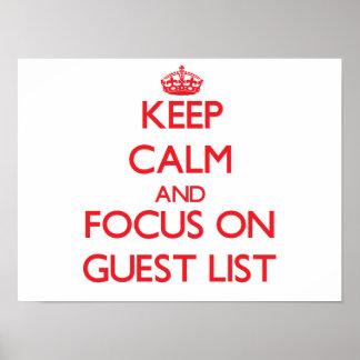 Guarde la calma y el foco en lista de la huésped impresiones