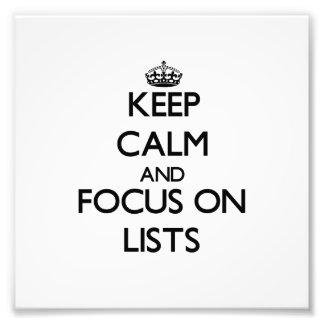 Guarde la calma y el foco en listas