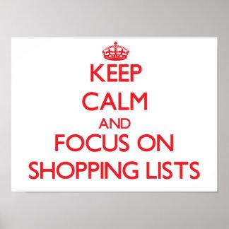 Guarde la calma y el foco en listas de compras posters