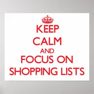Guarde la calma y el foco en listas de compras impresiones